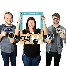 Strike Up the Fun - Bowling - Personalized Baby Shower or Birthday Party Selfie Photo Booth Picture Frame & Props - Printed on Sturdy Material