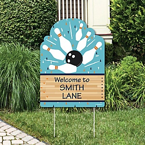 Strike Up the Fun - Bowling - Party Decorations - Baby Shower or Birthday Party Personalized Welcome Yard Sign