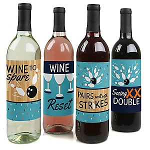 Strike Up the Fun - Bowling – Wine Bottle Gift Labels - Bowling Ball Party Decorations for Women and Men - Wine Bottle Label Stickers - Set of 4