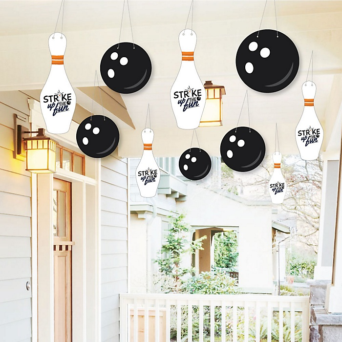 Hanging Strike Up the Fun - Bowling - Outdoor Baby Shower or Birthday Party Hanging Porch & Tree Yard Decorations - 10 Pieces