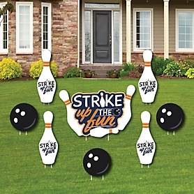 Strike Up the Fun - Bowling - Yard Sign & Outdoor Lawn Decorations - Baby Shower or Birthday Party Yard Signs - Set of 8