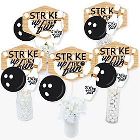 Strike Up the Fun - Bowling - Birthday Party or Baby Shower Centerpiece Sticks - Table Toppers - Set of 15