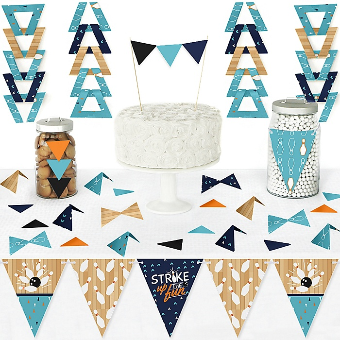 Strike Up the Fun - Bowling - DIY  Pennant Banner Decorations - Birthday Party or Baby Shower Triangle Kit - 99 Pieces