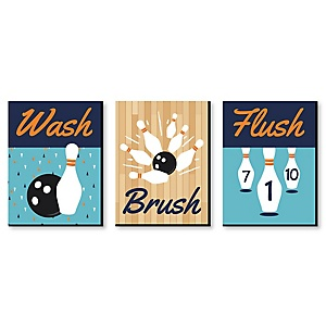 Strike Up the Fun - Bowling - Kids Bathroom Rules Wall Art - 7.5 x 10 inches - Set of 3 Signs - Wash, Brush, Flush
