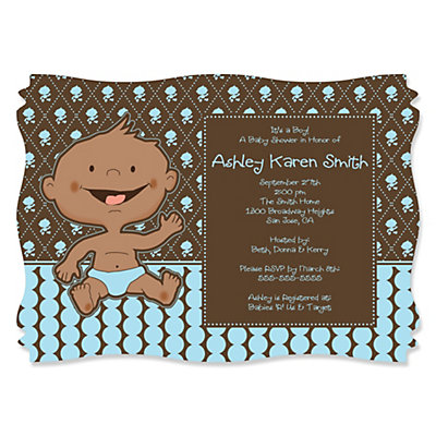 Modern Baby Boy African American  Personalized Baby Shower Invitations    BigDotOfHappiness.com