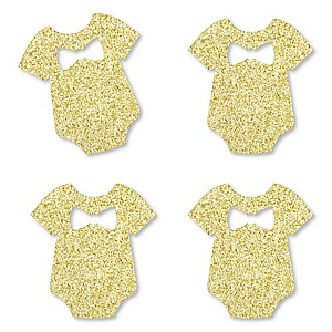 Gold Glitter Boy Baby Bodysuit - No-Mess Real Gold Glitter Cut-Outs - Boy Baby Shower Confetti - Set of 24