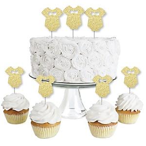 Gold Glitter Boy Baby Bodysuit - No-Mess Real Gold Glitter Dessert Cupcake Toppers - Boy Baby Shower Clear Treat Picks - Set of 24