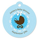 Boy Baby Carriage - Round Personalized Baby Shower Die-Cut Tags - 20 ct