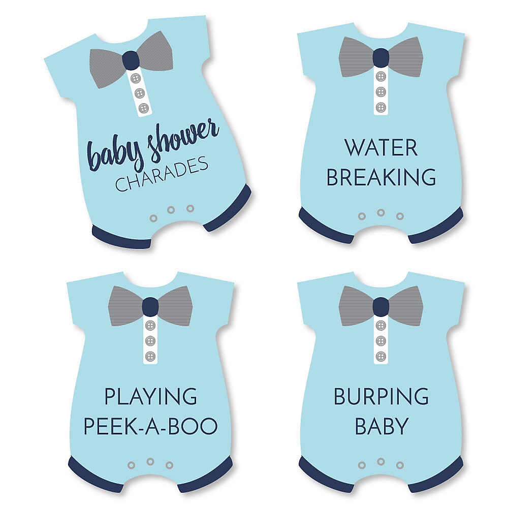 Baby Boy Blue Baby Shower Game Baby Charades Cards Set Of 24