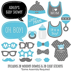 Baby Boy - 20 Piece Photo Booth Props Kit