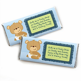 Baby Boy Teddy Bear -  Candy Bar Wrapper Baby Shower Favors - Set of 24