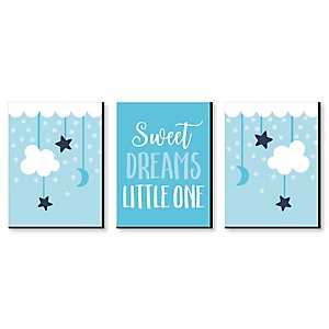 Baby Boy - Blue Nursery Wall Art and Kids Room Décor - 7.5 x 10 inches - Set of 3 Prints