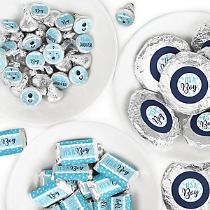 It's a Boy - Mini Candy Bar Wrappers, Round Candy Stickers and Circle Stickers - Blue Baby Shower Candy Favor Sticker Kit - 304 Pieces