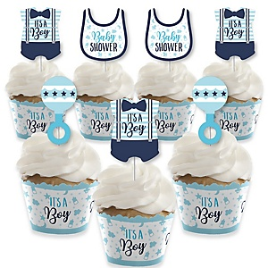 It's a Boy - Cupcake Decorations - Blue Baby Shower Cupcake Wrappers and Treat Picks Kit - Set of 24
