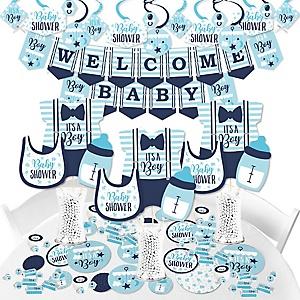 It's a Boy - Blue Baby Shower Supplies - Banner Decoration Kit - Fundle Bundle