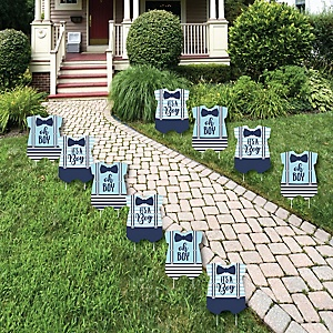 It's a Boy - Baby Bodysuit Lawn Decorations - Outdoor Blue Baby Shower Yard Decorations - 10 Piece