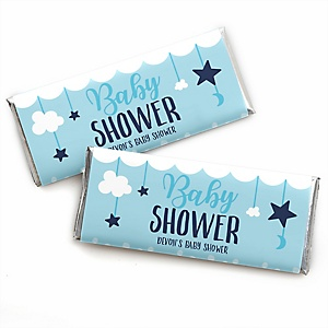 It's a Boy - Personalized Candy Bar Wrappers Blue Baby Shower Favors - Set of 24