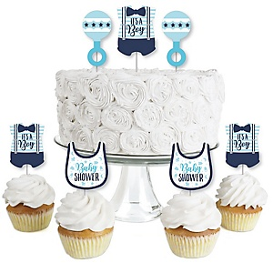 It's a Boy - Dessert Cupcake Toppers - Blue Baby Shower Clear Treat Picks - Set of 24