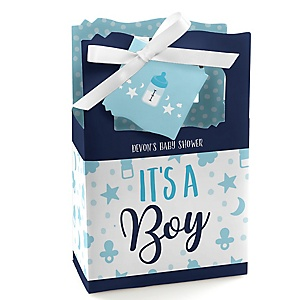It's a Boy - Personalized Blue Baby Shower Favor Boxes - Set of 12