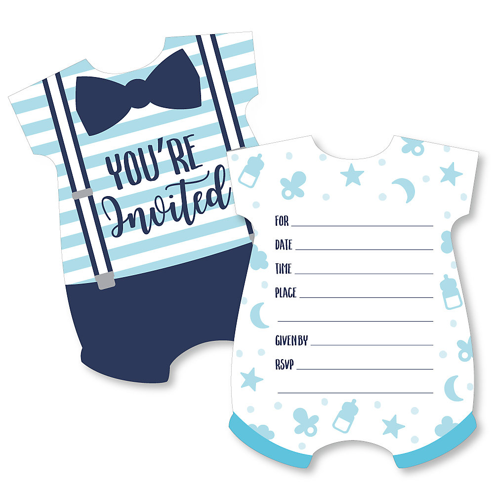It S A Boy Shaped Fill In Invitations Blue Baby Shower Invitation Cards With Envelopes Set Of 12