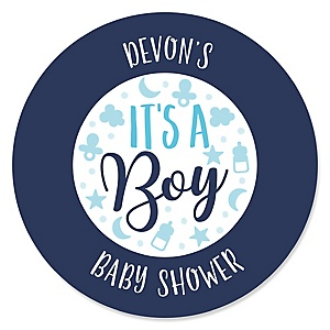 It's a Boy - Personalized Blue Baby Shower Sticker Labels - 24 ct