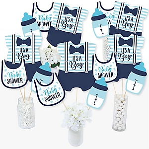 It's a Boy - Blue Baby Shower Party Centerpiece Sticks - Table Toppers - Set of 15