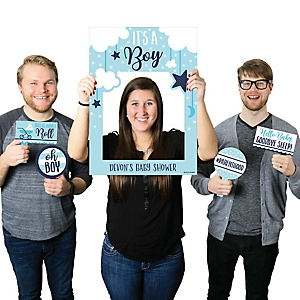 It's a Boy - Personalized Blue Baby Shower Selfie Photo Booth Picture Frame & Props - Printed on Sturdy Material