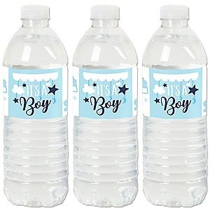 It's a Boy - Blue Baby Shower Water Bottle Sticker Labels - Set of 20