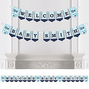 It's a Boy - Personalized Blue Baby Shower Bunting Banner & Decorations