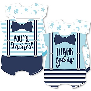 It's a Boy - 20 Shaped Fill-In Invitations and 20 Shaped Thank You Cards Kit - Blue Baby Shower Stationery Kit - 40 Pack