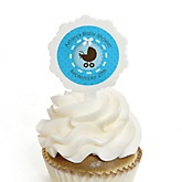 Boy Baby Carriage - 12 Cupcake Picks & 24 Personalized Stickers - Baby Shower Cupcake Toppers