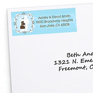 Silhouette Couples Baby Shower - It's A Boy - Personalized Baby Shower Return Address Labels - 30 ct