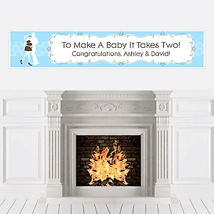 Silhouette Couples Baby Shower - It's A Boy - Personalized Baby Shower Banners