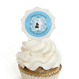 Silhouette Couples Baby Shower - It's A Boy - 12 Cupcake Picks & 24 Personalized Stickers - Baby Shower Cupcake Toppers