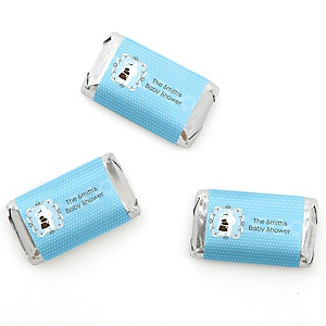 Silhouette Couples Baby Shower - It's A Boy - Personalized Baby Shower Mini Candy Bar Wrapper Favors - 20 ct