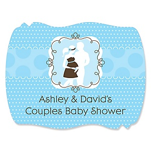 Silhouette Couples Baby Shower - It's A Boy - Personalized Baby Shower Squiggle Stickers - 16 ct