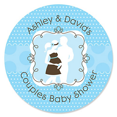 Silhouette Couples Baby Shower   Itu0027s A Boy   Personalized Baby Shower  Sticker Labels   24 Ct | BigDotOfHappiness.com