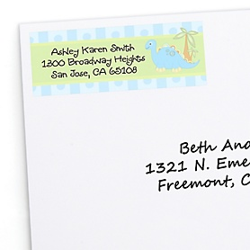 Baby Boy Dinosaur - Personalized Baby Shower Return Address Labels - 30 ct