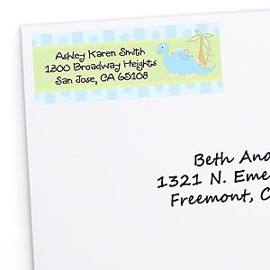 Baby Boy Dinosaur - Personalized Baby Shower Return Address Labels - 30 ct
