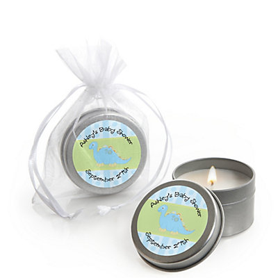Baby Boy Dinosaur Personalized Baby Shower Candle Tin Favors