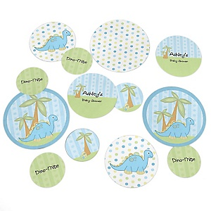 Baby Boy Dinosaur - Personalized Baby Shower Giant Circle Confetti - Dinosaur Baby Party Decorations - Large Confetti 27 Count