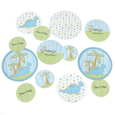 Baby Boy Dinosaur   Personalized Baby Shower Giant Circle Confetti   Dinosaur  Baby Party Decorations   Large Confetti 27 Count