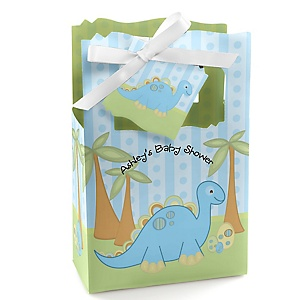 Baby Boy Dinosaur - Personalized Baby Shower Favor Boxes - Set of 12