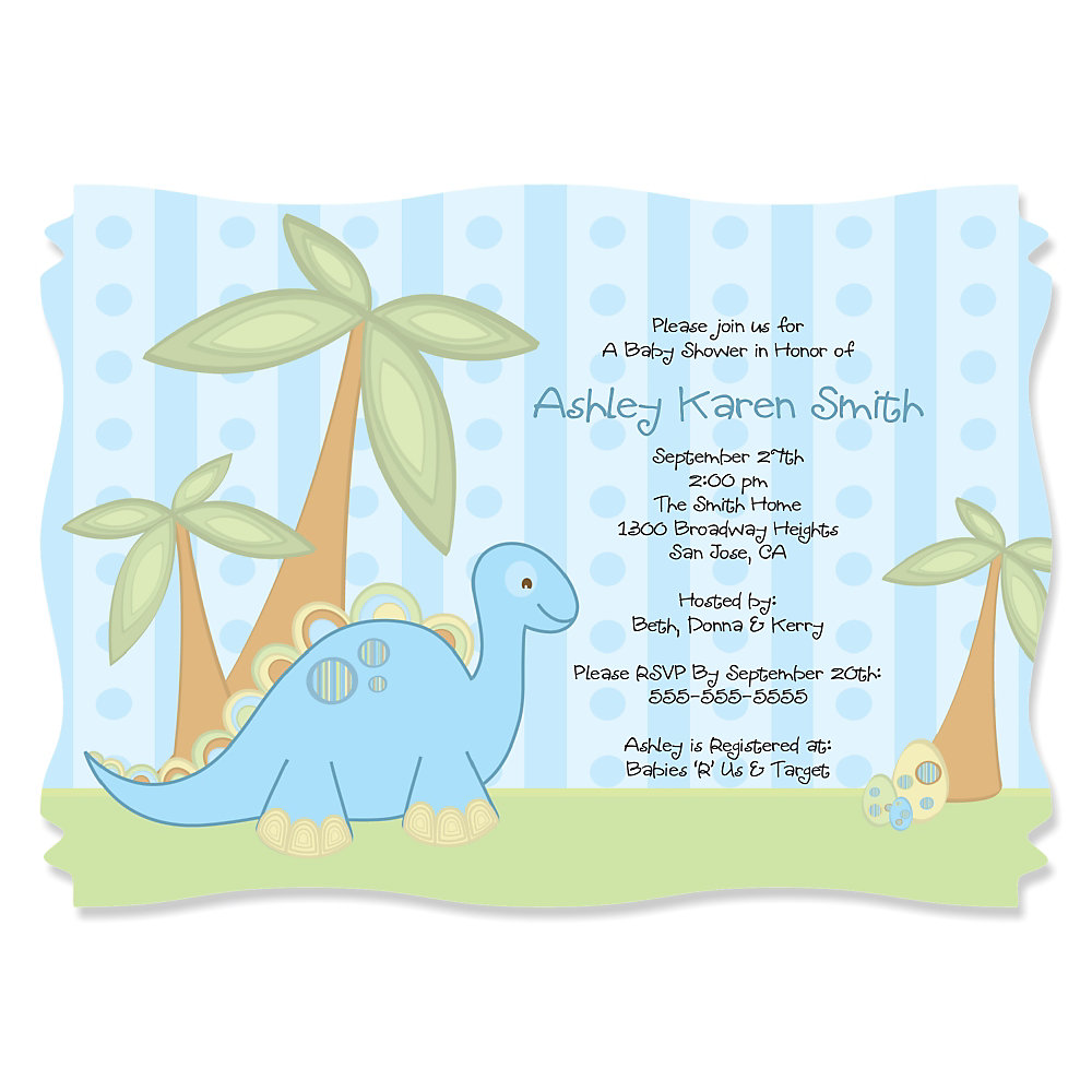 Baby Boy Dinosaur - Personalized Baby Shower Invitations ...