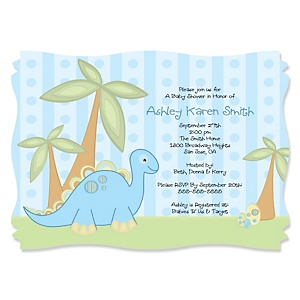 Baby Boy Dinosaur - Personalized Baby Shower Invitations - Set of 12