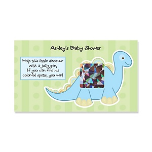Baby Boy Dinosaur - Personalized Baby Shower Game Scratch Off Cards - 22 ct