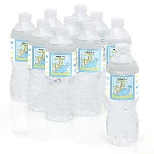 Baby Boy Dinosaur - Personalized Baby Shower Water Bottle Sticker Labels - Set of 10