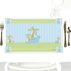Baby Boy Dinosaur - Party Table Decorations - Baby Shower Placemats - Set of 12