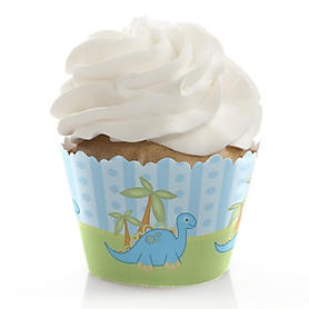 Baby Boy Dinosaur - Baby Shower Decorations - Party Cupcake Wrappers - Set of 12