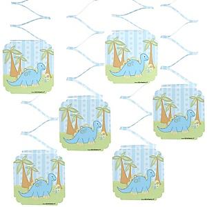 Baby Boy Dinosaur - Baby Shower Hanging Decorations - 6 ct